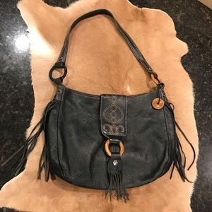 Sak Leather Purse with Fringe Black